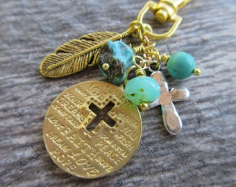 Boho Gold Cross and Turquoise Clip-On Purse Charm gold tone charms, czech glass & turquoise dangles swivel clasp tote charm, bag charm