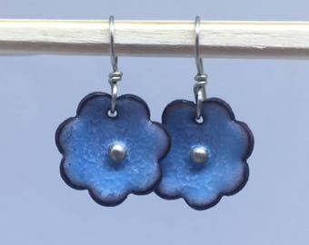 Sweet Blue Torch Enale Flower Earrings