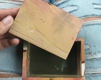 Polychrome jasper jewlery box, polychrome jasper box, polychrome jasper dish