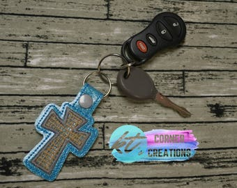 Cross, Embroidered Cross Keychain, Keyfob, Snaptab, Zipperpull