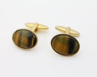 Vintage Gold Tone Cufflinks w Natural Tigers Eye Stones. [1672]