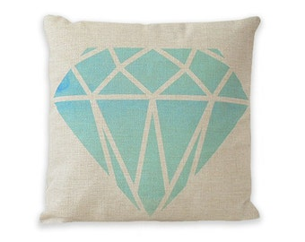"""Watercolor Turquoise Gemstone Pillow Cover 17"""" x 17"""" by Geo Evolution"""