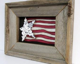Folk Art American Flag, American Flag, Patriotic USA Flag, Framed in Reclaimed Barn Wood, Primitive American Flag, Red, White and Blue