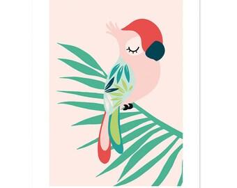 Tropical Parrot  Baby Nursery Art print