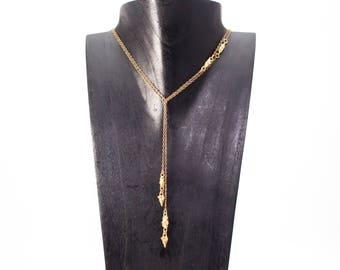Bronze Lariat Necklace, Moon Necklace, Pebble Lariat, Wear 2 Ways Necklace, Moon Rock Lariat, Bronze Choker, Gold Lariat, Delicate Lariat