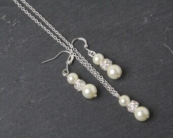 Ivory Bridesmaid jewelry set, pearl earrings and necklace set, Ivory wedding Jewelry, Ivory bridesmaid gift, jewelry set, Bridal party gift