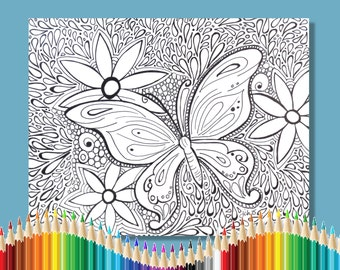Coloring Pages for Adults Groovy Butterfly Instant Download