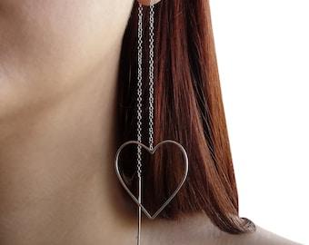 Statement earrings, pull through earring, sterling silver threader earrings, silver thread earrings, unusual earrings, heart earrings