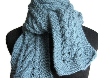 Dusty Blue Cable and Lace Hand Knit Scarf, The Stef Scarf, Vegan Blue Scarf, Blue Knitted Scarf Womens Accessories