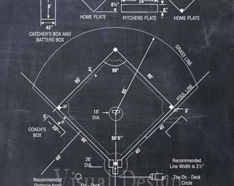 Baseball patent art etsy baseball coach gift baseball decor baseball field diagram baseball patent print baseball malvernweather Image collections