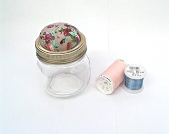 Pin cushion jar, needle holder, needle cushion, needle minder, flower pin cushion, pin holder,  button jar, sewing gift, pin cushion jar