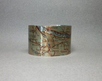 Portland Oregon Map Cuff Bracelet Unique Hometown Gift for Men or Women