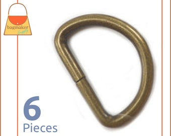 """1 Inch D Ring, Antique Brass / Bronze Finish, 6 Pieces, Handbag Hardware Purse Supplies, 1"""" D-Ring, Wire Formed, Not Welded, RNG-AA222"""