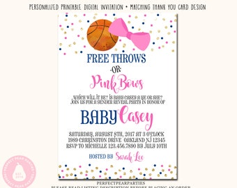 Buck or doe gender reveal invitation buck and doe gender free throws or pink bows gender reveal invitation basketball and hair bow gender reveals pink and blue stopboris Image collections