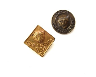 Set of 2 Vintage Bobcat & Cub Scouts Boy Scouts of America B.S.A Circular and Diamond Shape Brass and Gold Tone Metal Lapel Pins