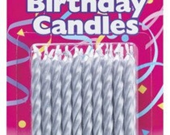 SILVER Spiral Birthday Candles (20 PACK)