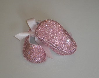 ANY COLOR Baby Girls Swarovski Covered Ballerina Shoes -BLING Baby Shoes-Rhinestone Baby Shoes
