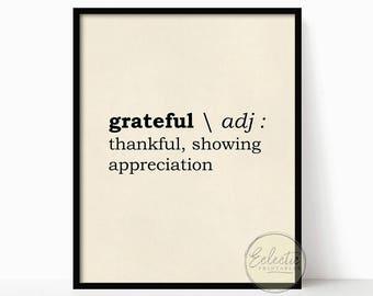 Thanksgiving printable art, Printable wall decor, Grateful print, Thanksgiving print, Typography, Thanksgiving Decor, Instant Download