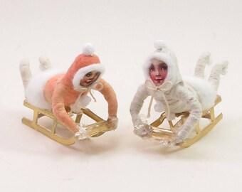 READY TO SHIP Vintage Inspired Spun Cotton Sledding Child Figure/Ornament
