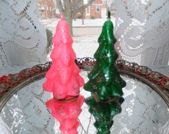 Pair Vintage Gurley Pink Green Glitter Christmas Tree Candles