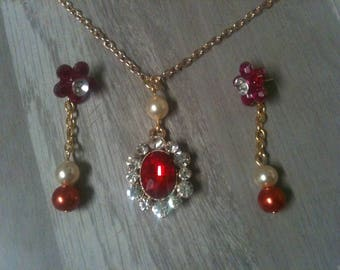 set wedding jewelry red/earring necklace red + red/red wedding adornment jewelry rhinestone wedding jewelry set