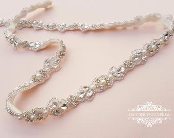 Thin bridal belt, bridal belt, thin bridal sash, thin wedding belt, thin rhinestone belt, skinny bridal sash, skinny belt, thin trim, BETH-V