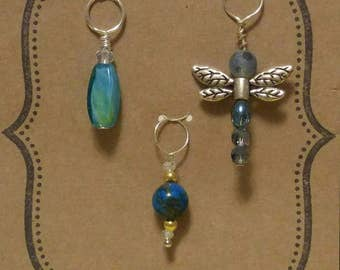 Knitting stitch markers handcrafted set of 3