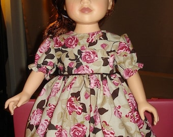 Handmade 18 inch Doll dress with pink & brown roses - ag68