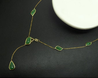 18K yellow gold natural jade (A ,feitsui) necklace