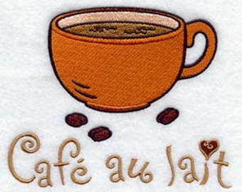 Cafe au Lait Coffee Cup - Embroidered Flour Sack Hand/Dish Towel