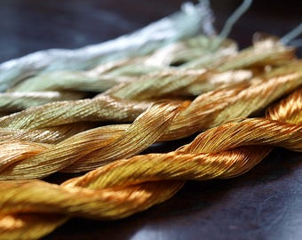 Gold/Silver Metallic Thread 5 Skeins Set -Kyoto Traditional Embroidery Threads -