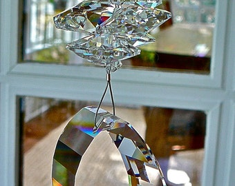 "Large (50mm) and Stunning Beveled Crystal Swarovski Prism, Suncatcher, Topped with Swarovski Octagon Crystals - ""CHANNING GRANDE"""