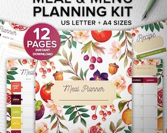Meal and Menu Planning Kit 12 pages PDF - Printable meal planner - Meal Planning kit, A4/Us Letter, Fitness Desk Manager INSTANT Download