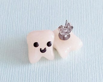 Tooth Earring Studs, Teeth Earring Studs, Dental hygienist gift, Dentist gift, Polymer Clay Tooth, Dentist Graduation, Teeth Gift