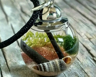 Marimo Moss Pendant - Live Plant Jewelry - Beach in a Bottle - You choose your Stone and Sand