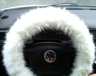 White Fuzzy Steering Wheel Cover, Car accesories, Fuzzy Car Accessories, Faux Fur Steering Wheel Cover