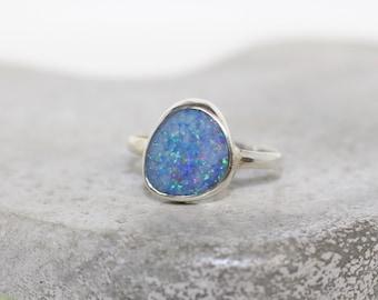 Australian Opal ring Sterling Silver