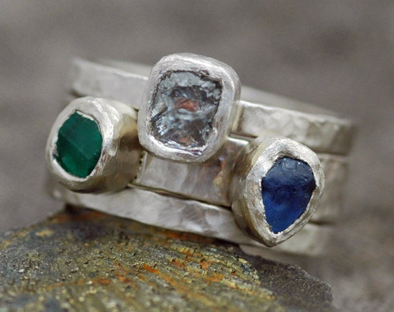 Custom 18k Recycled Gold Stacking Engagement and Wedding  Three Ring Set- Rough Diamond, Sapphire, and Raw Emerald