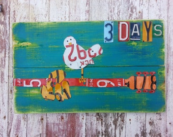 Guitar Playing WOODSTOCK 3 days of Music - Red Blue Yellow Game Room Boys Recycled Vintage License Plate Art - Salvaged Wood - Upcycled