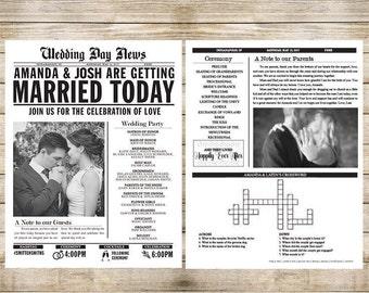 Printed Wedding Newspaper Program Customizable