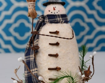 Whimsical Snowman, Whimsical Primitive Snowman, Snowman in Vintage Style Rusty Lid