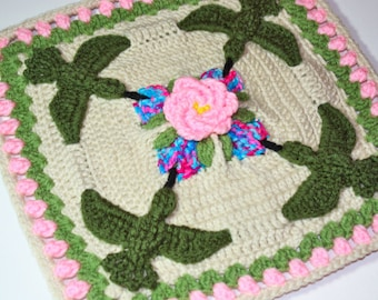 "Hummingbird Garden Party 12"" Crochet Square Pattern PDF"
