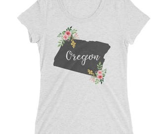 Oregon Watercolor Flower Home State Tee Womens Short Sleeve Shirt