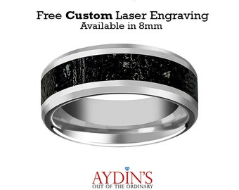 Tungsten Lava Rock Stone Black & Gray Inlay Tungsten Wedding Band Beveled Polished Finish 8mm Tungsten Wedding Ring
