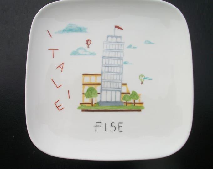 square plate / dessert / handpainted porcelain / Pisa / city / Italy / design