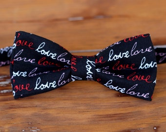 Mens LOVE Bow tie, love script black red bow tie, gift for valentines day, mens bow tie, mens wedding bow tie, romantic wedding tie, gift