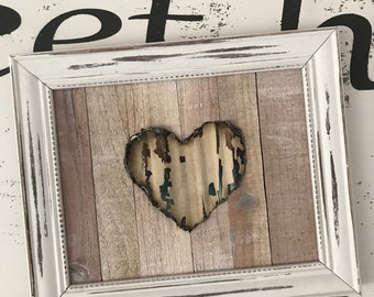 White shabby chic farmhouse distressed style Rustic wood tin heart