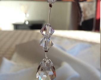 SALE: Swarovski Crystal Faceted Teardrop Christmas Decoration/Sun Catcher