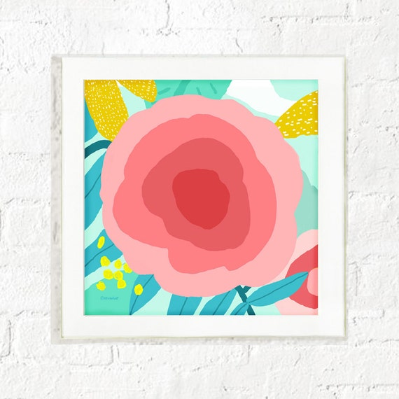 Abstract rose art print for girl's nursery, girl's bedroom, art prints for kid's room, graphic rose floral, girl's decor, baby girl wall art