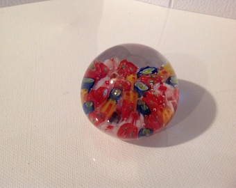 Vintage paperweight  red, blue and white